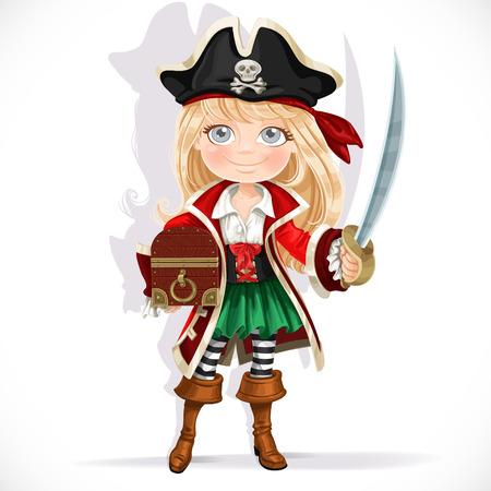Chica pirata lindo con el machete y cofre del tesoro aislado en un fondo blanco