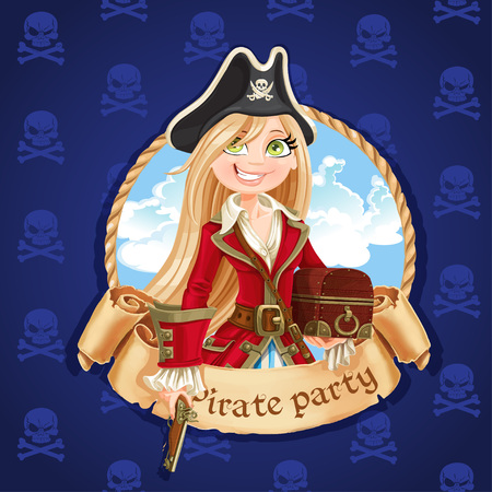 Cute pirate girl with treasure chest. Banner for Pirate party Vector