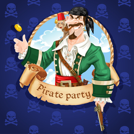 Cute pirate with monkey throw up golden coin . Banner for Pirate party Vector