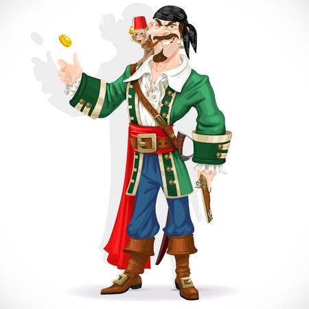猿とかわいい海賊の黄金のコインを投げる