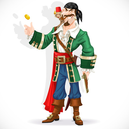 Cute pirate with monkey throw up golden coin
