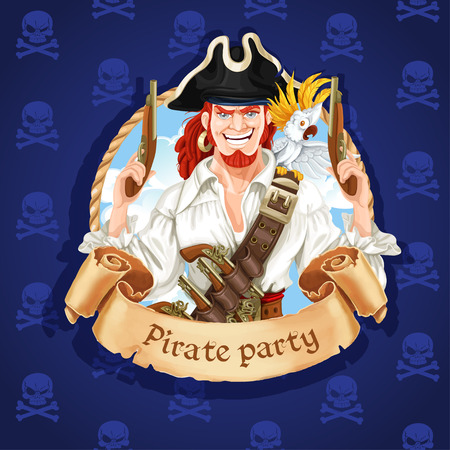 captain cap: Cute pirate with parrot. Banner for Pirate party Illustration