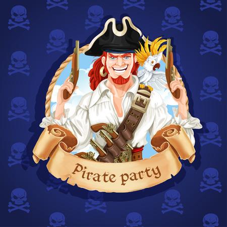 Leuke piraat met papegaai. Banner voor Pirate partij Stock Illustratie