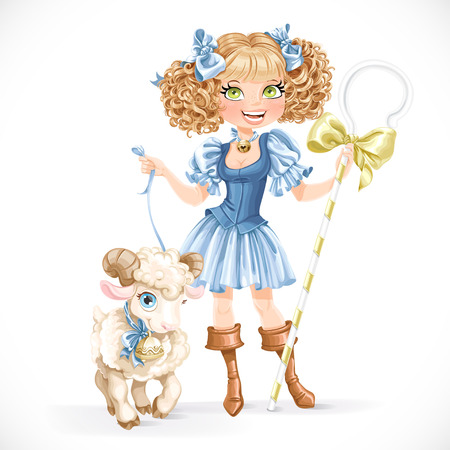 farm animal: Cute shepherdess with lamb isolated on a white background Illustration
