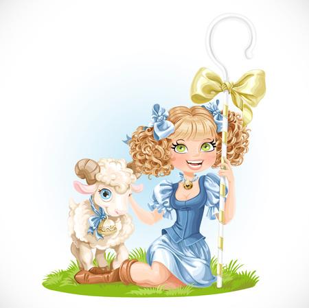 Cute shepherdess with lamb sit on green grass