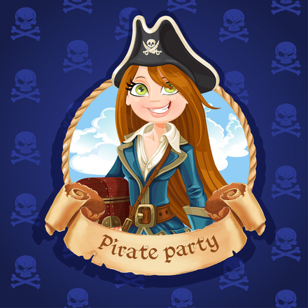 cute girl with long hair: Cute woman pirate with treasure chest. Banner for Pirate party