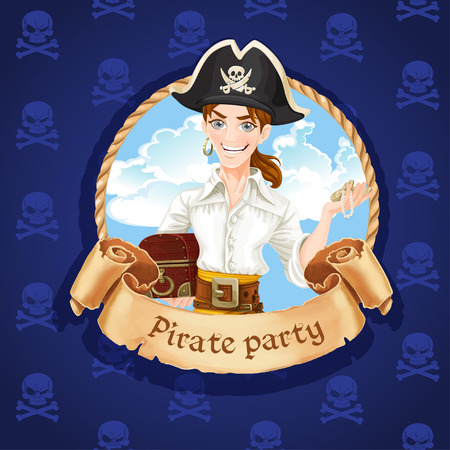 sea robber: Cute young pirate with treasures . Banner for Pirate party