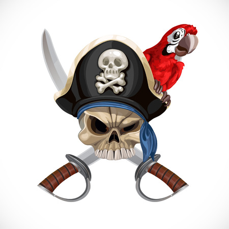 pirate cartoon: Jolly Roger in pirat hat and with sabers and red parrot