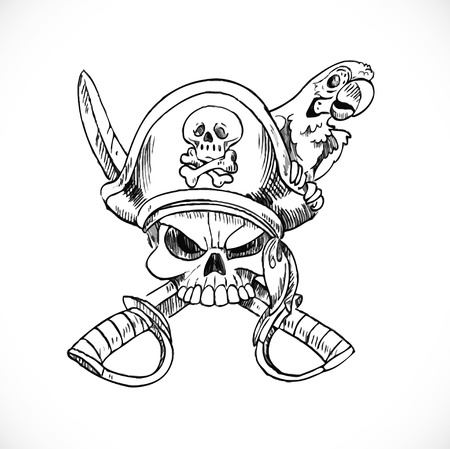 Jolly Roger with parrot sketch on white background Illustration