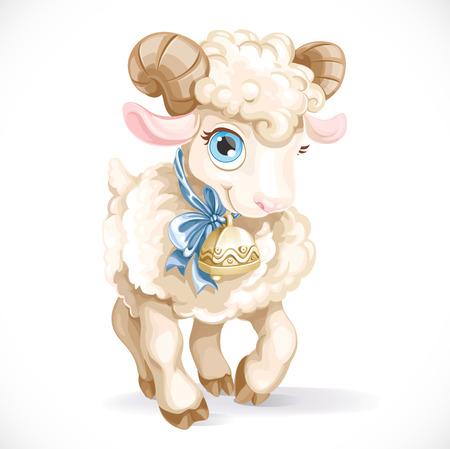 pasen schaap: Kleine schattige lam geïsoleerd op een witte achtergrond Stock Illustratie