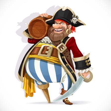 piratenhoed: Oude piraat met een houten been houden van een vaatje rum Stock Illustratie