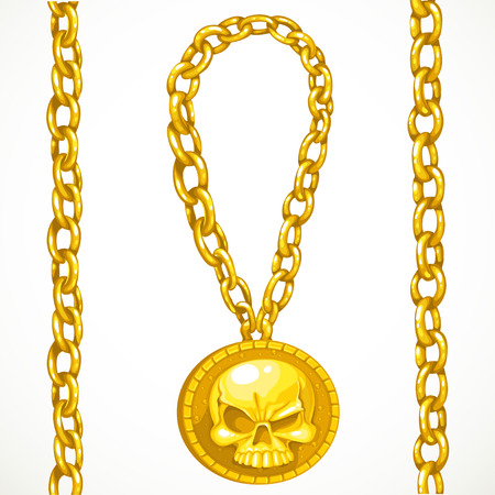 Piratical treasures gold circuitry and medallion with skull isolated on a white background Çizim