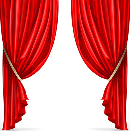 curtain to theater stage: Red curtain collected in folds ribbon isolated on a white background