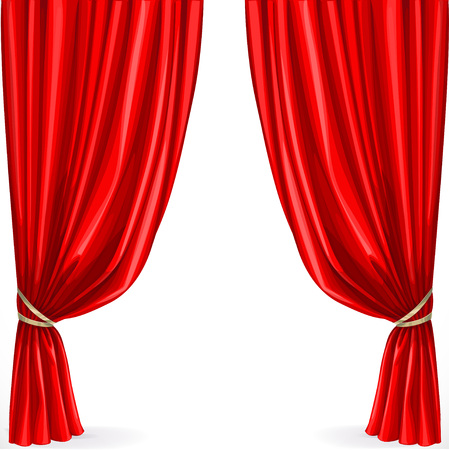 classical theater: Red curtain isolated on a white background