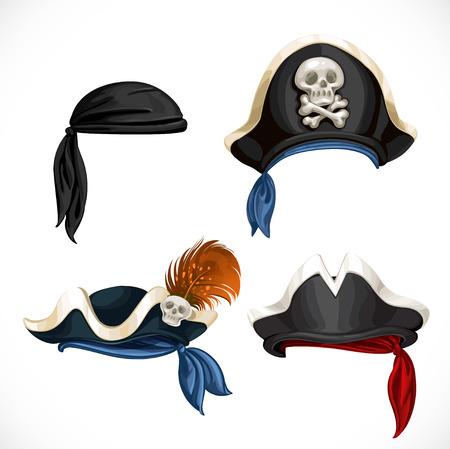 Set of pirate hats and bandana  Vector