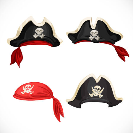 red hat: Set of pirate hats and bandana
