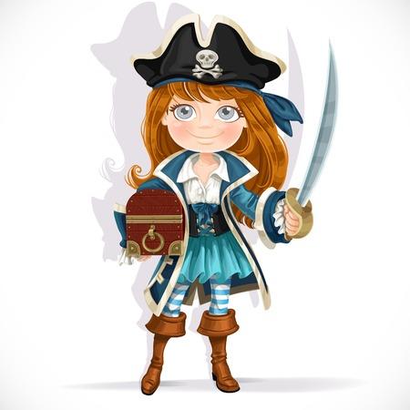 Niña pirata lindo con el machete y cofre del tesoro aislado en un fondo blanco