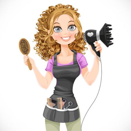 Stylist: Peluquería chica linda con secador de pelo y cepillo para el pelo aislado en un fondo blanco