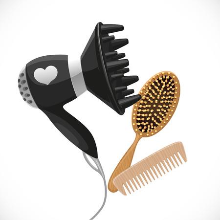 secador de pelo: Secador de pelo con difusor y peines aislado en un fondo blanco Vectores