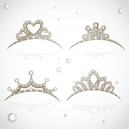 흰색 배경에 고립 된 다이아몬드와 금 왕관 빛나는