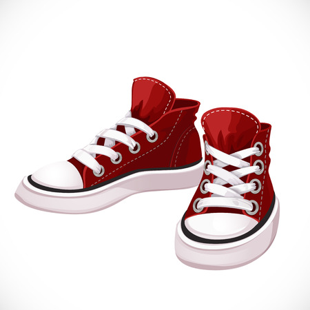 Red sports sneakers with white laces isolated on white background Vectores