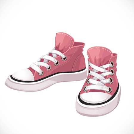 Pink sports sneakers with white laces isolated on white background Vectores