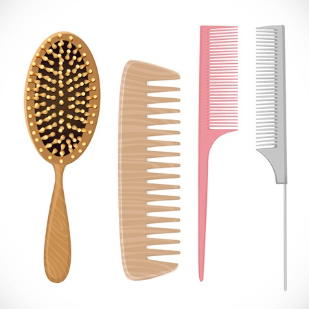 Hair combs set isolated on a white background