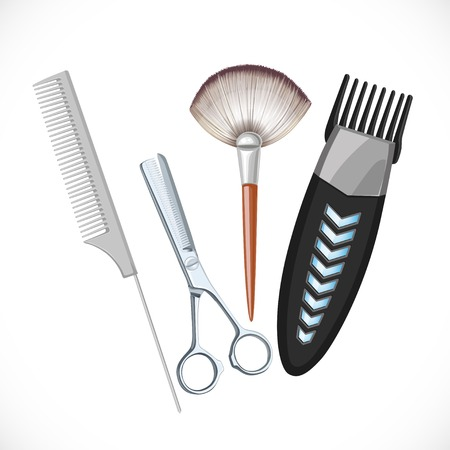 black hair girl: Set hairdressing tools - hair clipper, scissors, brush, comb  isolated on a white background Illustration