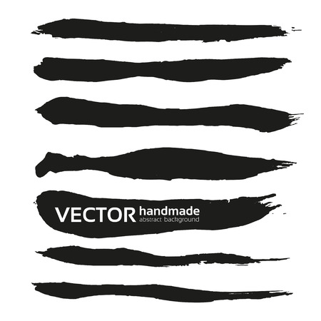 Black handdrawn realistic long strokes banners 1 Vectores