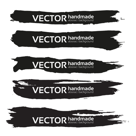Black handdrawn realistic long strokes banners