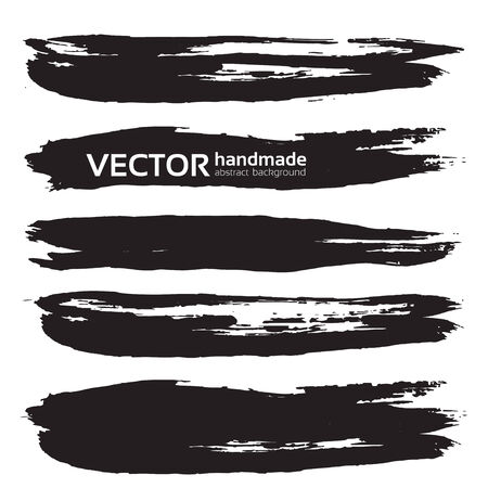 streak: Black handdrawn realistic long strokes banners Illustration