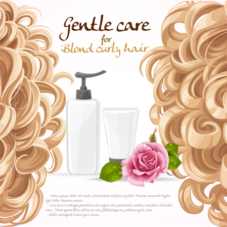 wavy hair: Blond curled hair care background