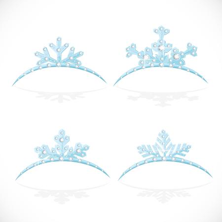 corona navidad: Copos de nieve tiara corona azul en forma de bola de Navidad aislado en un fondo blanco Vectores