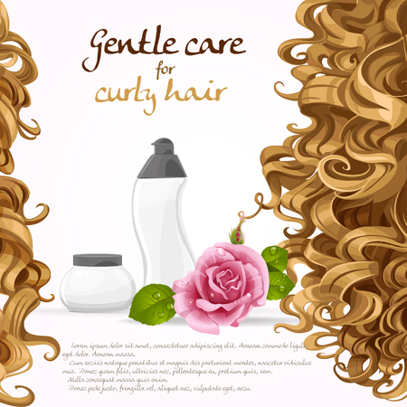 balsam: Curled hair care background Illustration