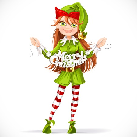 elves: Cute girl elf with the words Merry Christmas garland
