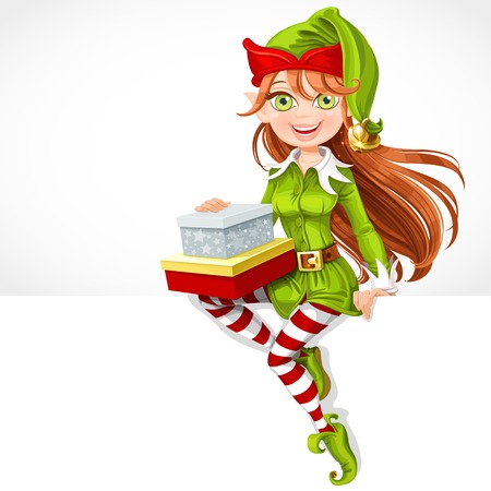 christmas costume: Cute girl Santa elf with gifts sit on white banner