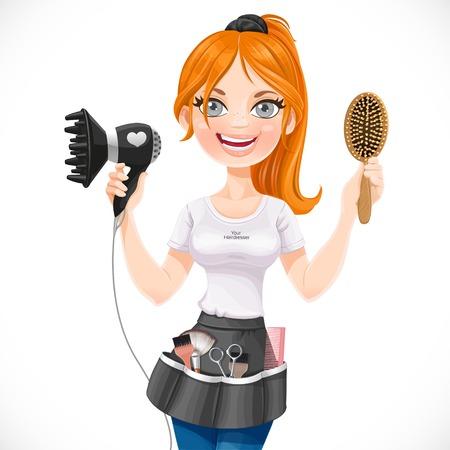 かわいい赤毛の女の子美容室ヘアー ドライヤーと白い背景で隔離のヘアブラシ 写真素材 - 33949162