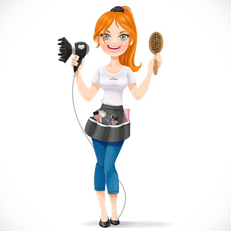 air diffuser: Cute redhead girl hairdresser with hair dryer and hairbrush portrait in full growth isolated on a white background Illustration