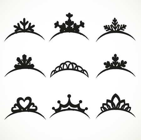 Set of silhouettes of tiaras of various shapes on a white background