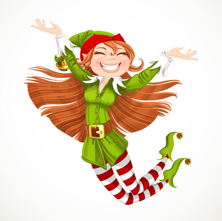 christmas wishes: Cute girl Santa elf jump with joy isolated on a white background