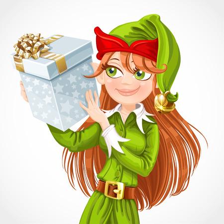 santa helper: Cute girl Santa elf with gift isolated on a white background
