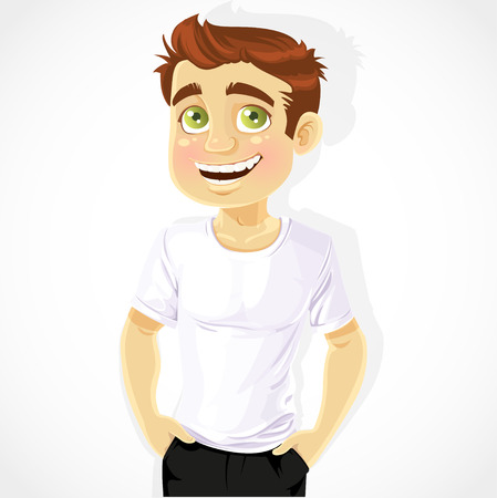 confidant: Cute man shows a white T-shirts isolated on a white background Illustration