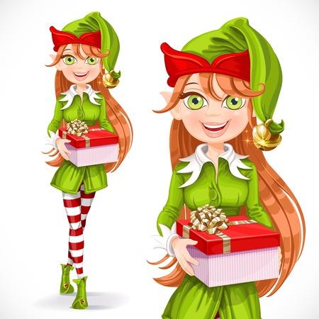 Schattig meisje van de kerstman elf geven een geschenk geïsoleerd op een witte achtergrond