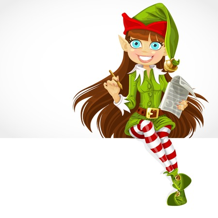 Cute girl the New Years elf ready to record wishes sit on white banner Illustration