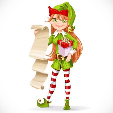 La muchacha linda del duende de Santa con la lista en pergamino aislado en un fondo blanco