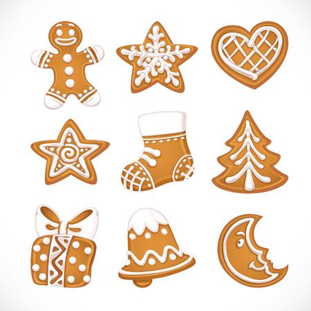 spice cake: Christmas gingerbread isolated on white background Illustration