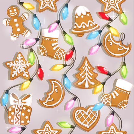 Seamless texture of Christmas gingerbread and colorful garlands Vector