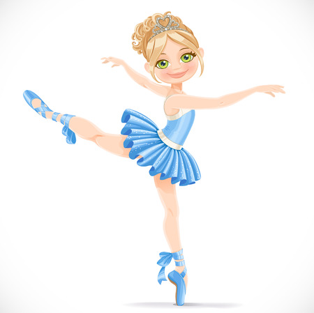 Ballerina girl dancing in blue dress isolated on a white background