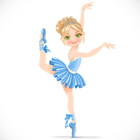 Ballerina girl in blue dress dancing on one leg isolated on a white background