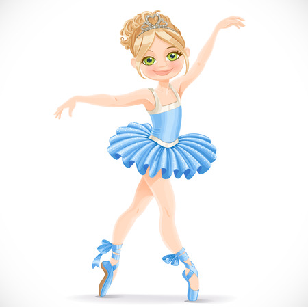 Beautiful ballerina girl dancing in blue dress isolated on a white background